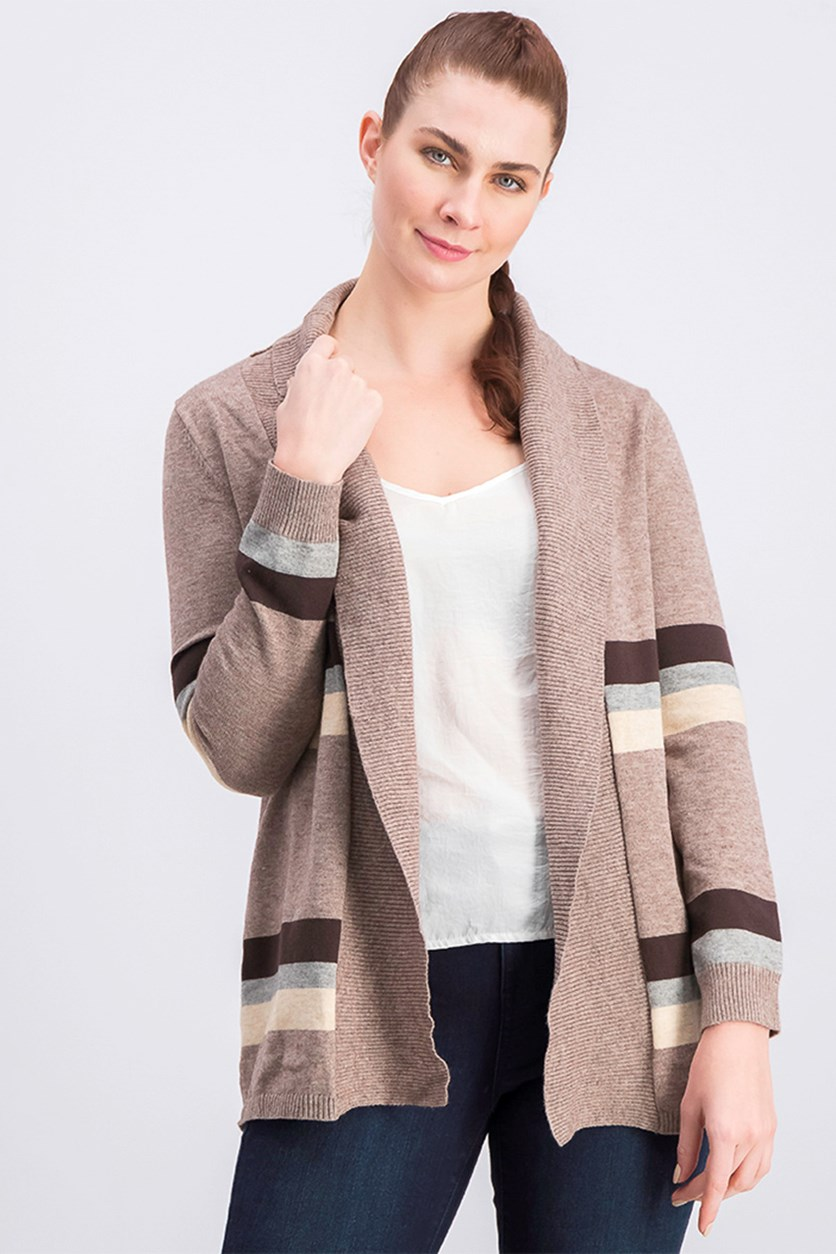 Women's Striped Cardigan, Taupe