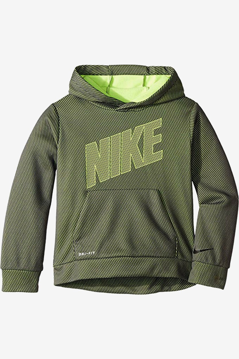 Little Boys Therma-fit Mesh Logo Pullover Hoodie, Lime Combo