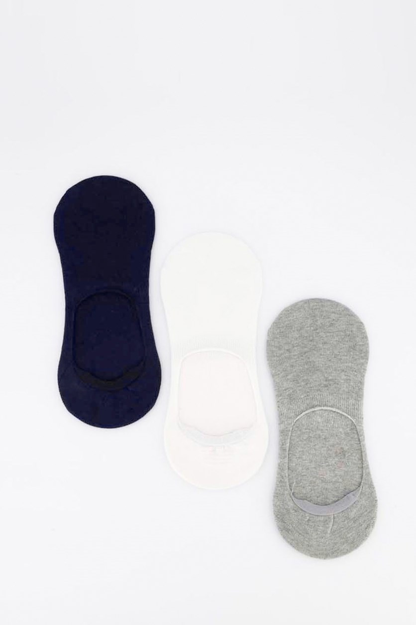 Men's 3 Pairs Invisible Socks, Grey/White/Navy