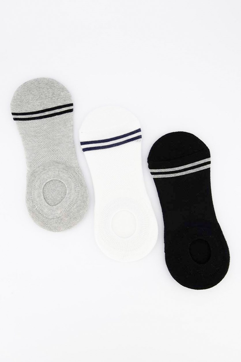 Men's 3 Pairs Invisible Socks, Grey/White/Black