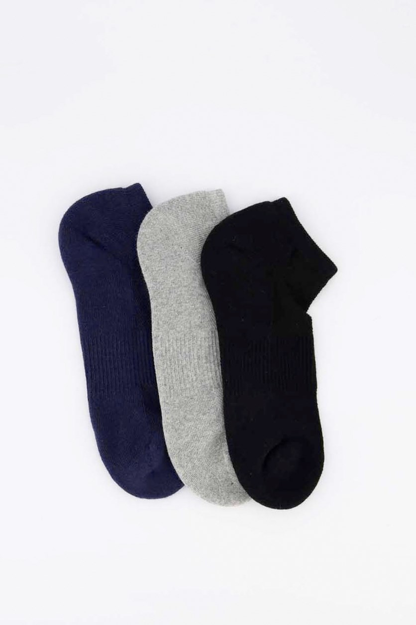 Men's 3 Pairs Ankle Sport Socks, Navy/Black/Grey