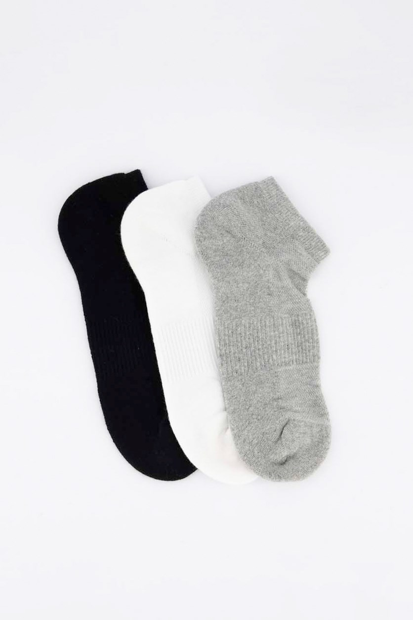 Men's 3 Pairs Ankle Sport Socks, Grey/White/Black