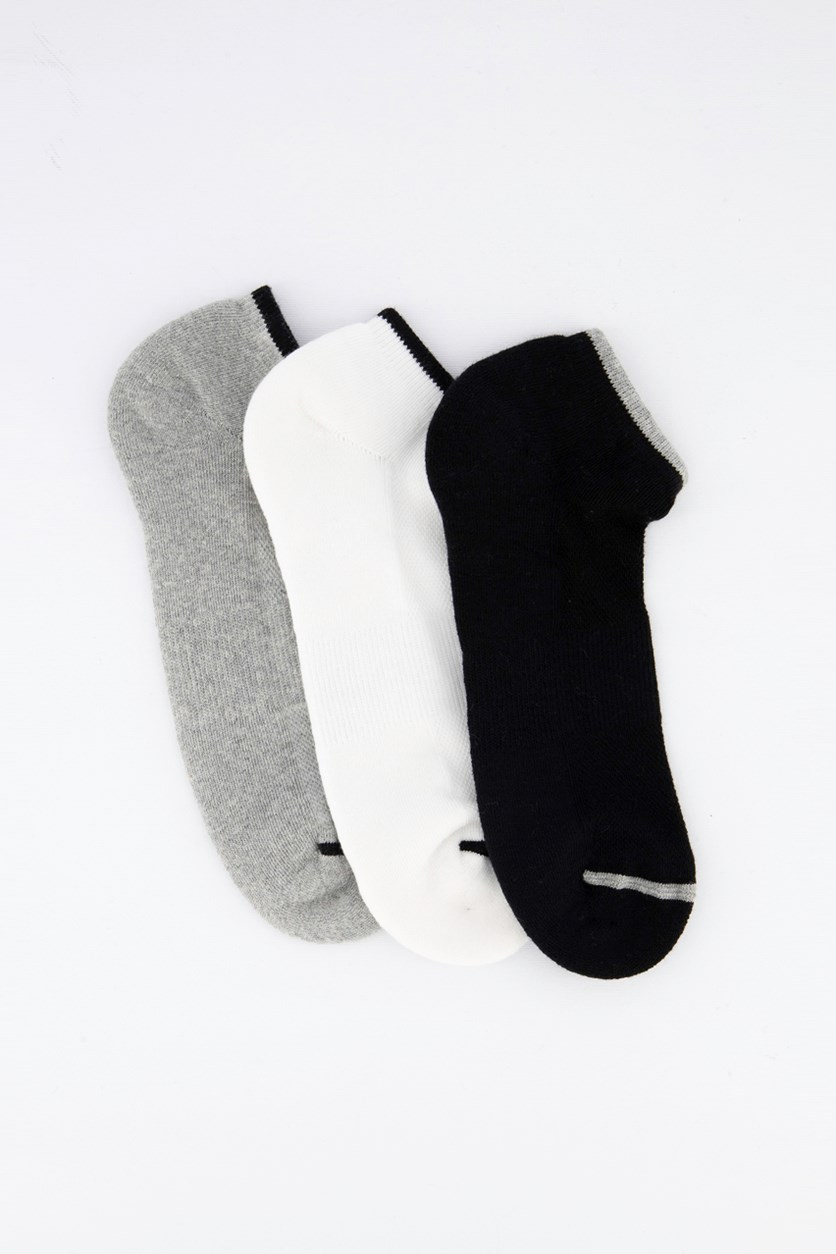 Men's 3 Pairs Men's Ankle Sport Socks, Gray/White/Black