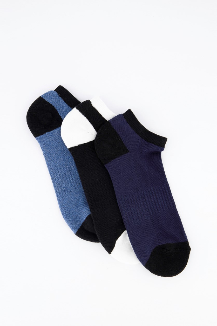 Men's 3 Pairs Ankle Sports Socks, Blue/Black/Navy