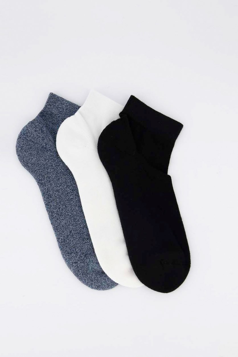 Men's 3 Pairs Mid Length Socks, Blue Heather/White/Black