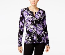 Karen Scott Women's Petite Floral-Print Cardigan, Black/Purple