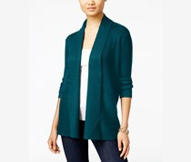 Women's Petite Open-Front Ribbed Duster Cardigan, Teal