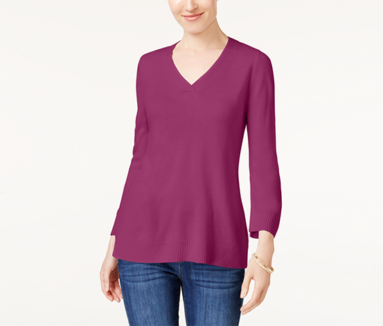 Karen Scott Women's V-neck Sweater, Raspberry