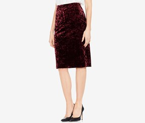 Vince Camuto Crushed Velvet Pencil Skirt, Deep Claret