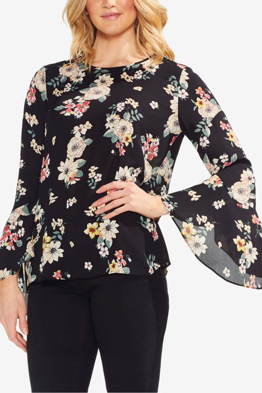 Women's  Floral-Print Bell-Sleeve Top, Black