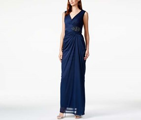 Adrianna Papell Women's Embellished V-Neck Draped Gown, Navy