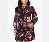 Women's Floral Long Sleeve Above the Knee a-Line Dress, Black