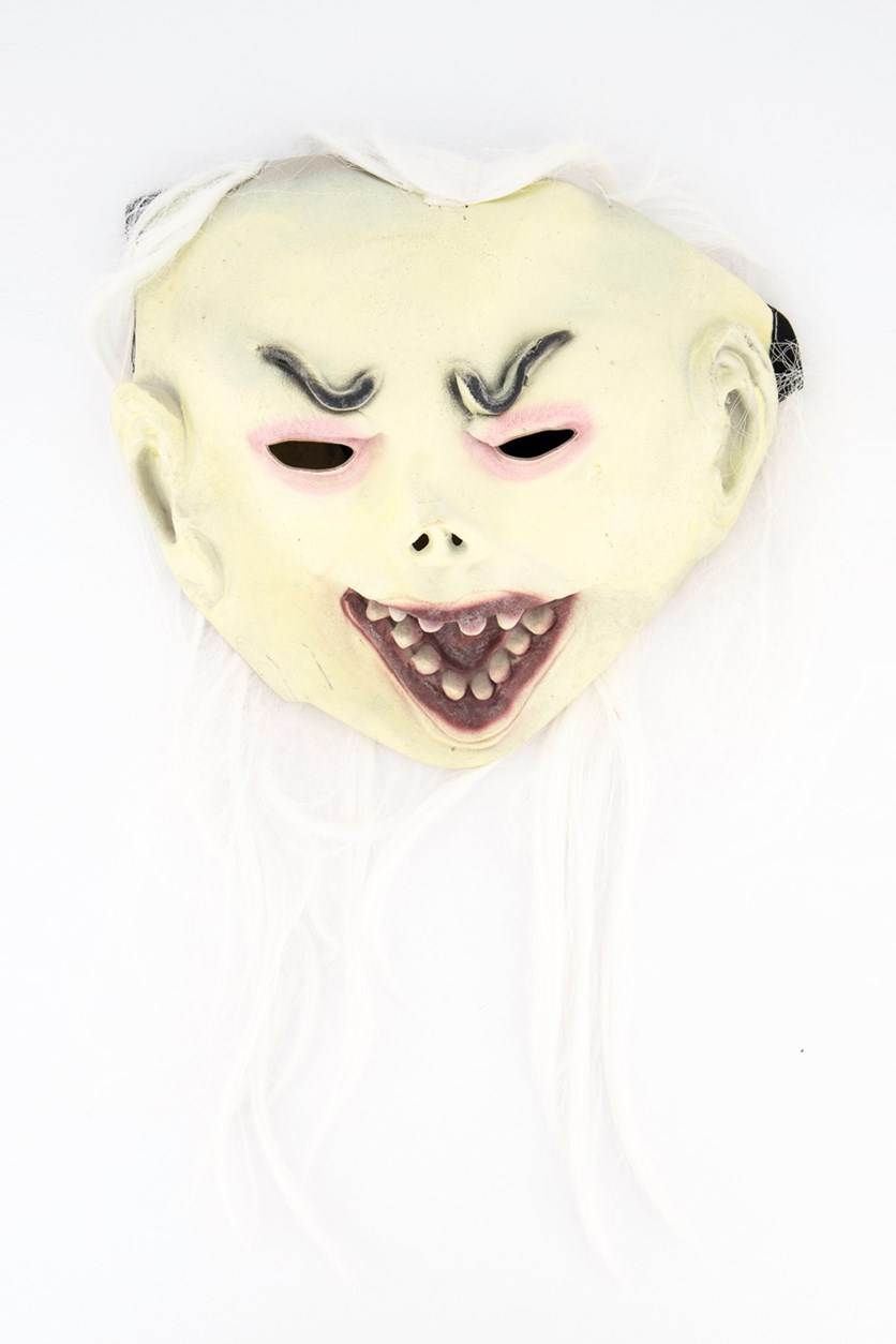 Halloween Mask With Long Hair, White Combo