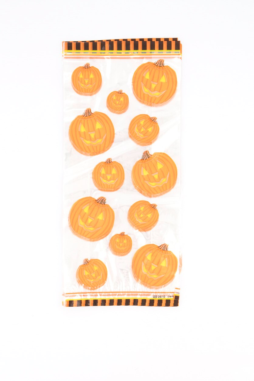 Pumpkin Glow 20 Printed Cello Bags And Twist Ties, Clear