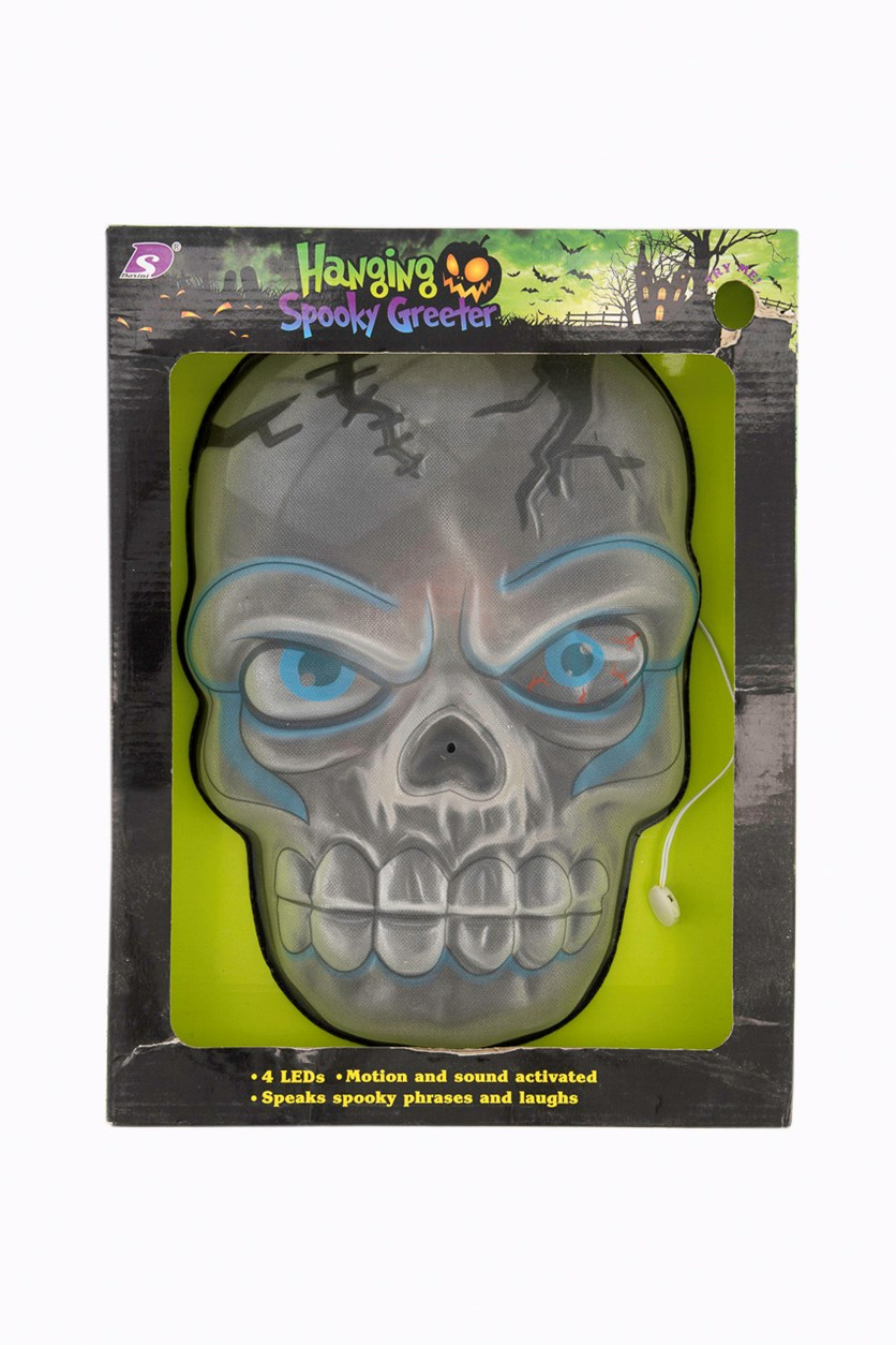Hanging Spooky Greeter Skull Light, Grey/Blue