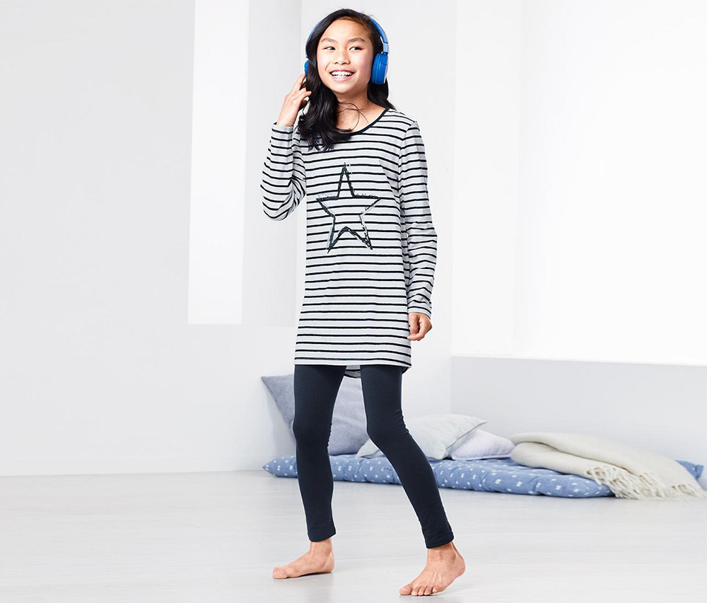 Girls Pajamas, Navy/White