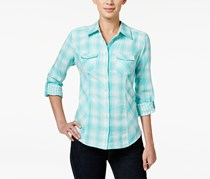 Style & Co. Plaid Button Down Shirt, Plaid Aqua