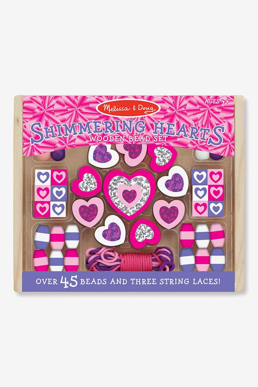 Shimmering Hearts Wooden Bead Set, Purple Combo