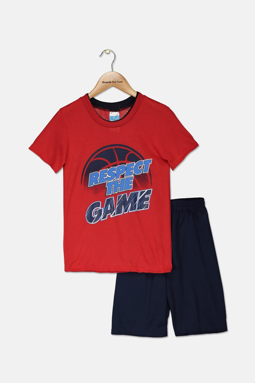 Kids Boys Graphic Printed Pajama Set, Red/Navy