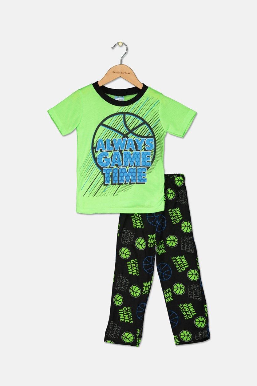 Kids Boy's Sleepwear Set, Lime/Black