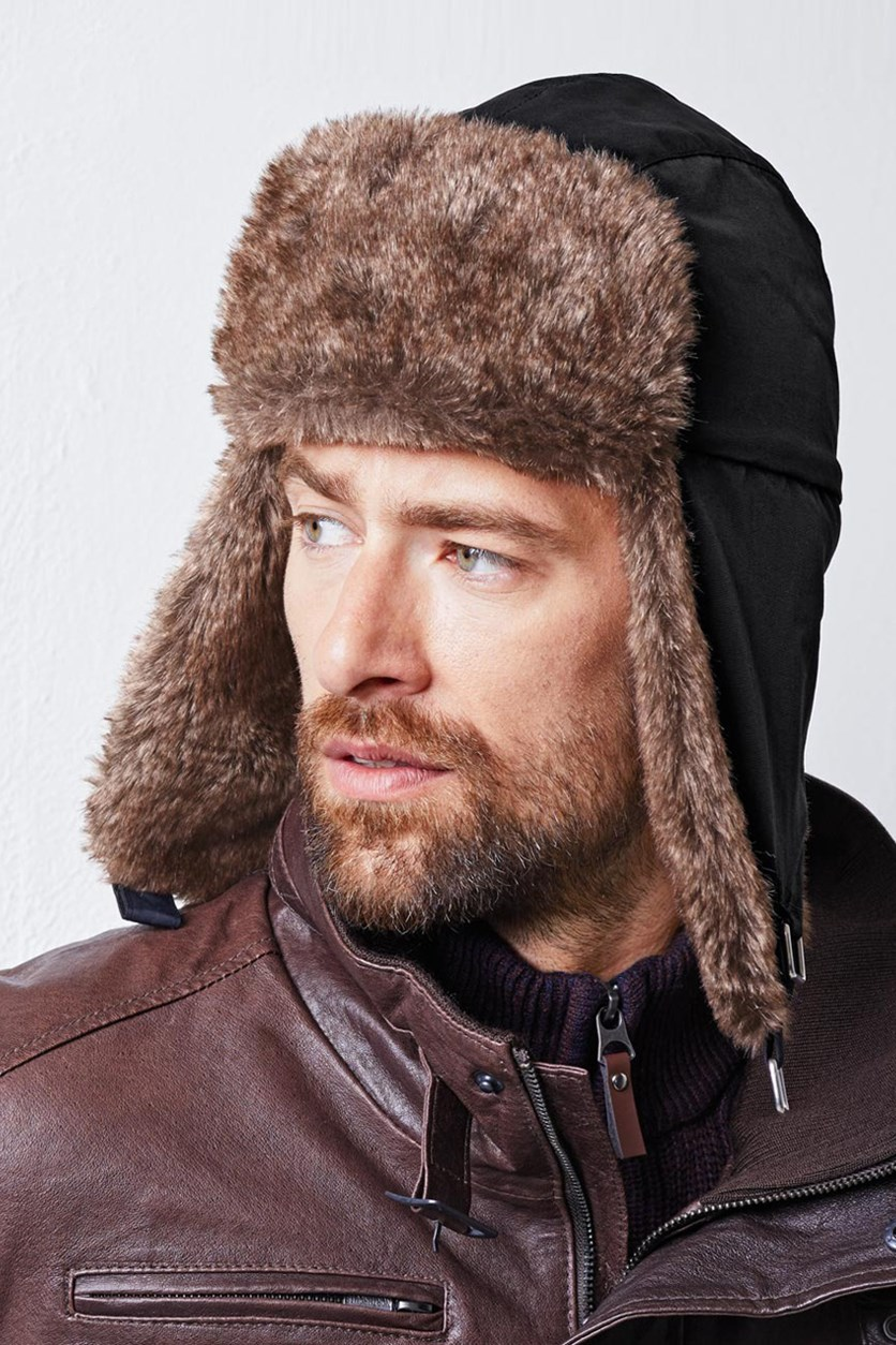 Mens Aviator Hat, Black/Brown