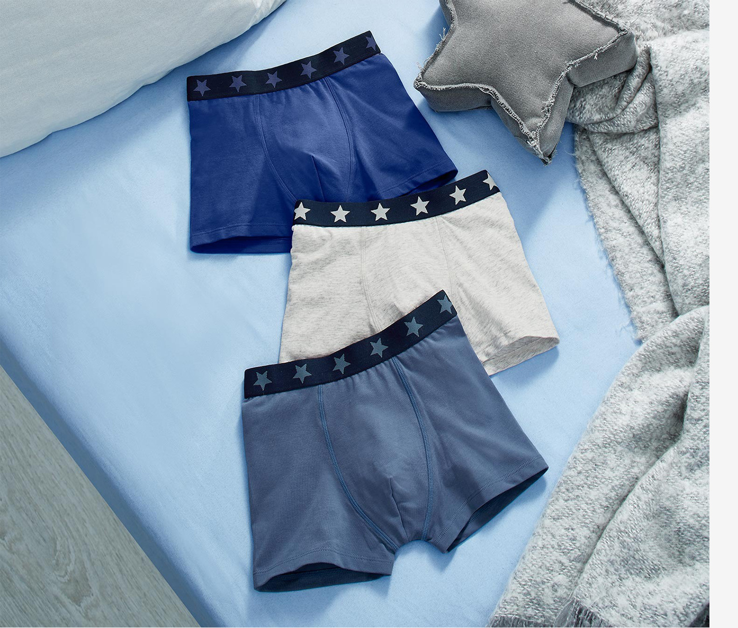 Kids Boy's  Set of 3 Boxer Brief, Navy Blue/White Heather
