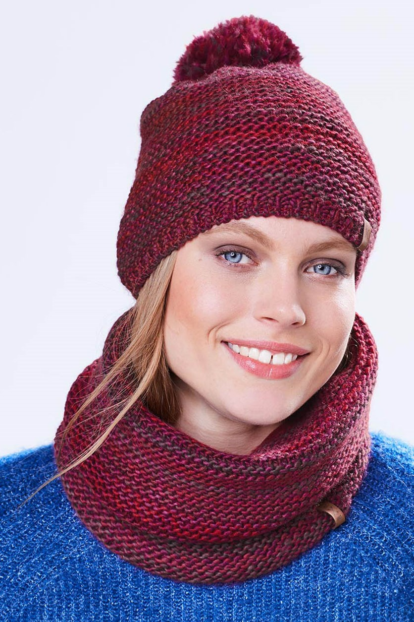 Knitted Tube Scarf, Red/Burgundy