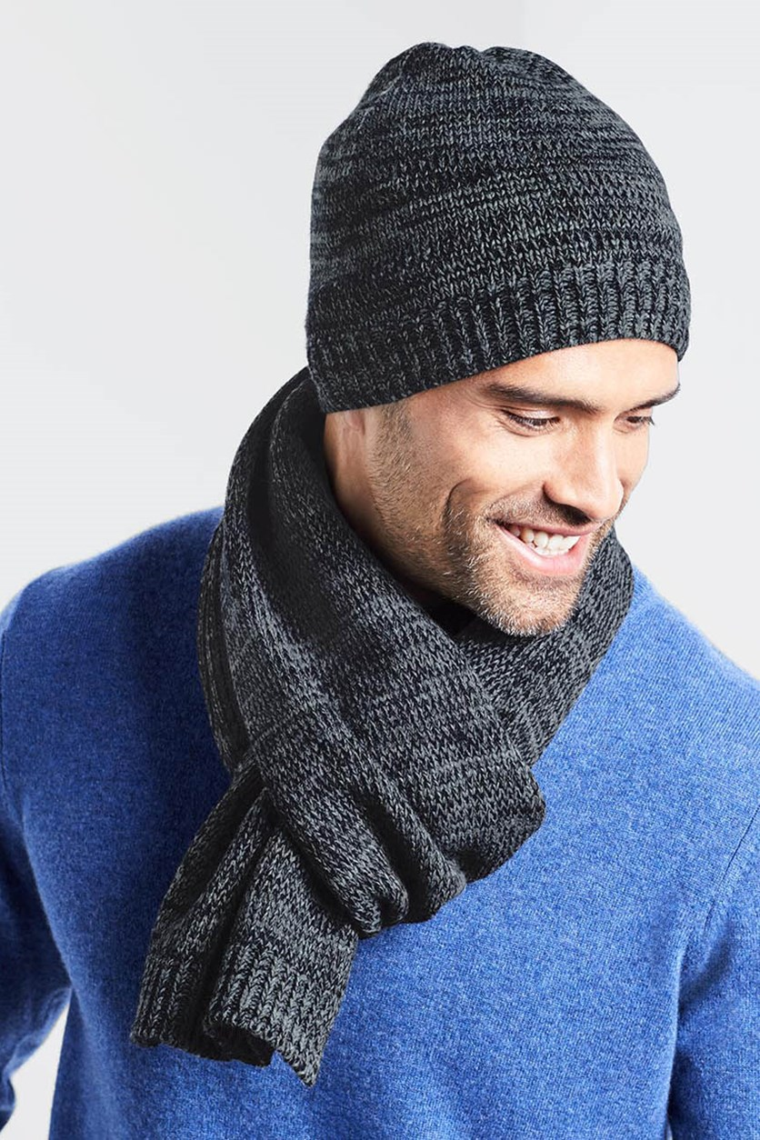Men's Knitted Scarf, Grey/Dark Blue removed emblished
