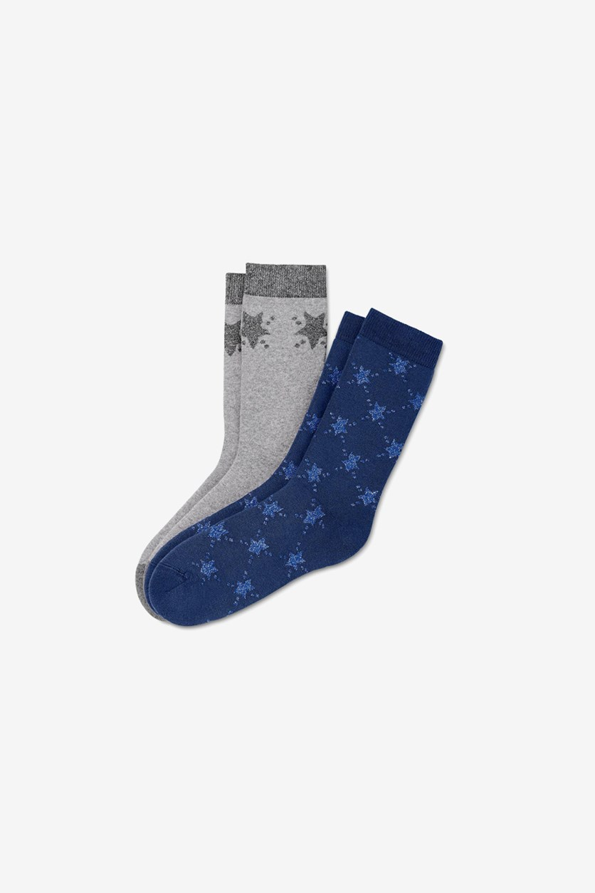 Women's 2Pair Cosy Socks, Dark Blue/Grey