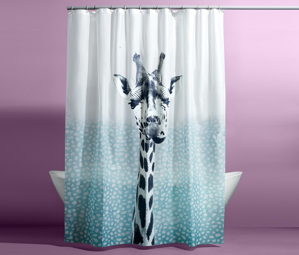 Shower Curtain, White/Turquoise