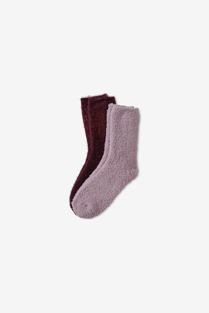 2 Pairs of Soft Socks, Bordeaux/Pink