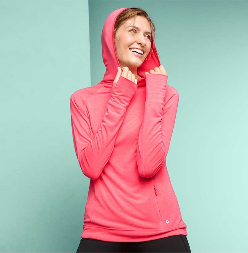 Women's Long Sleeve Running Shirt With Hood, Neon Pink