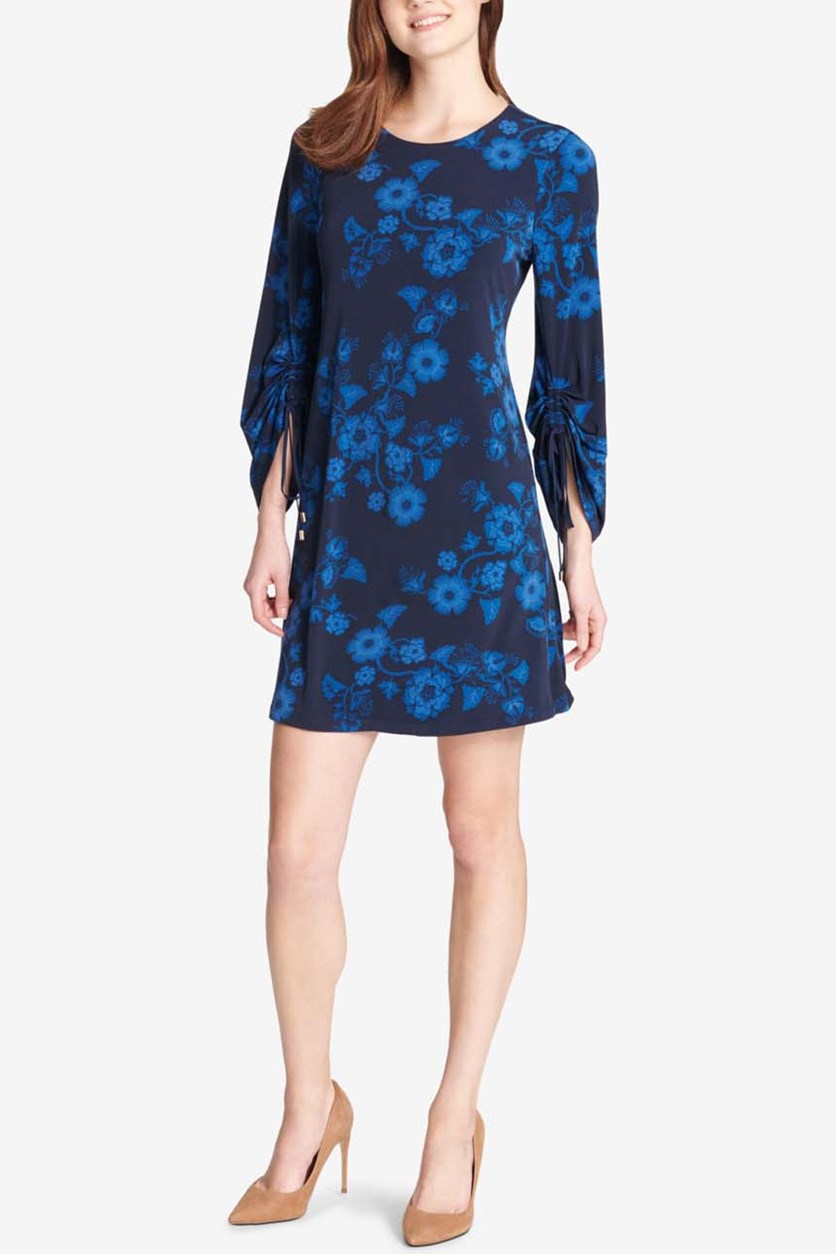 Women's Legacy Floral Ruched-Sleeve Dress, Navy