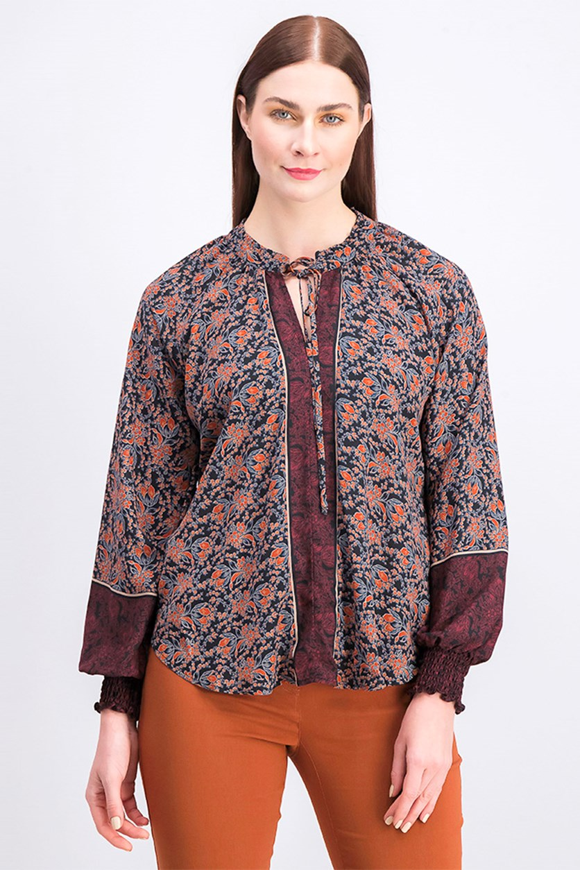 Women's Allover Print Blouse, Black/Brown/Maroon