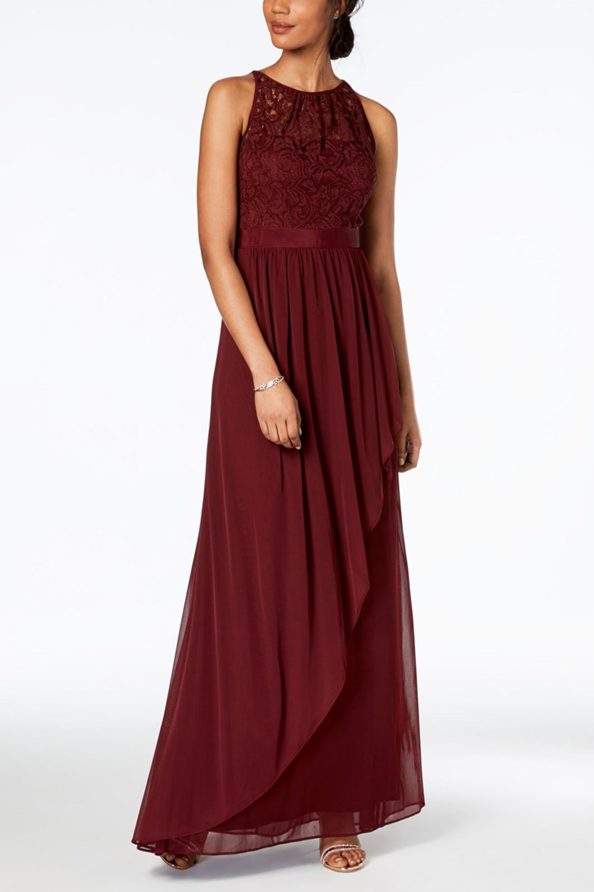 Lace Illusion Halter Gown, Burgundy