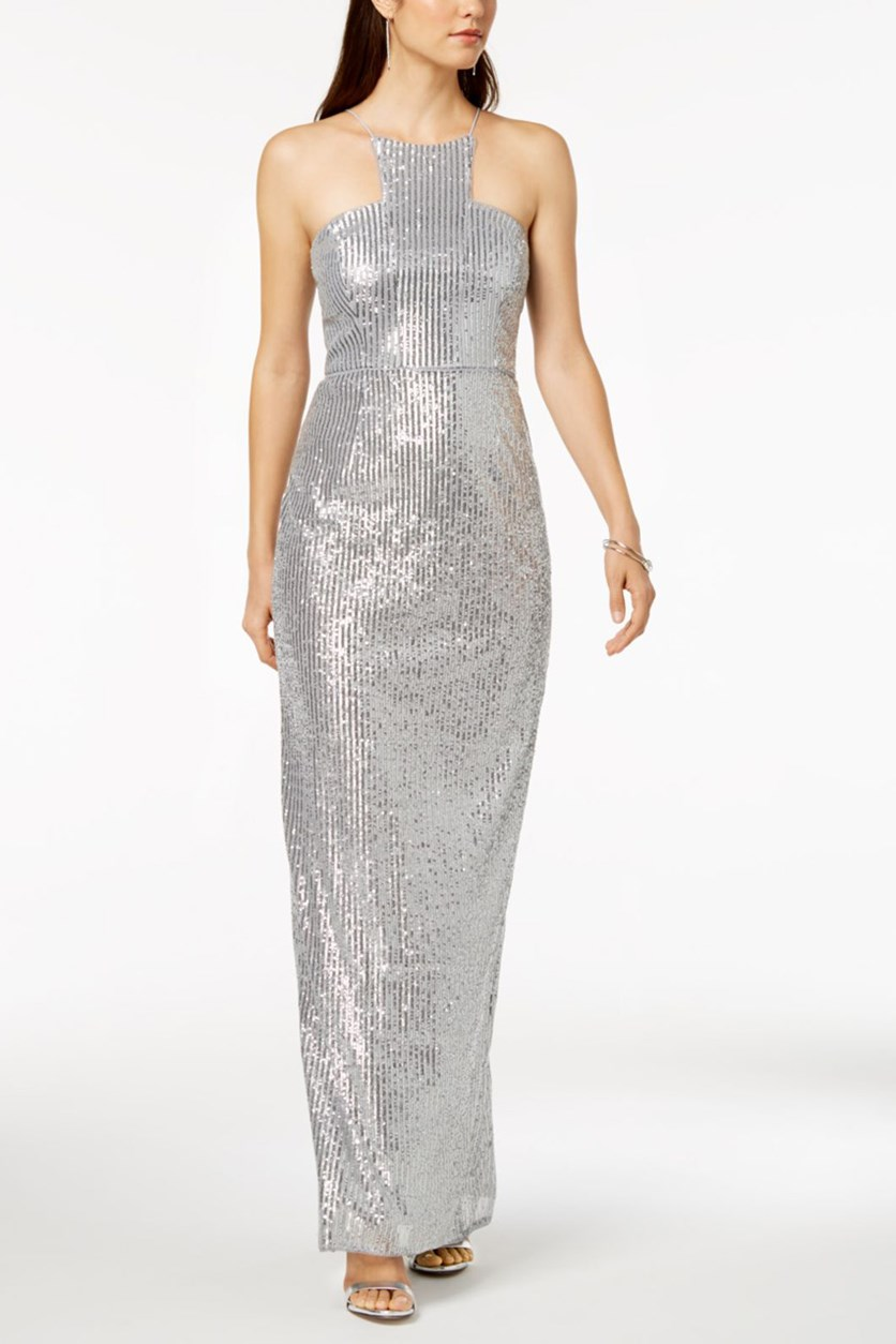 Women's Petites Sequined Halter Evening Dress, Silver
