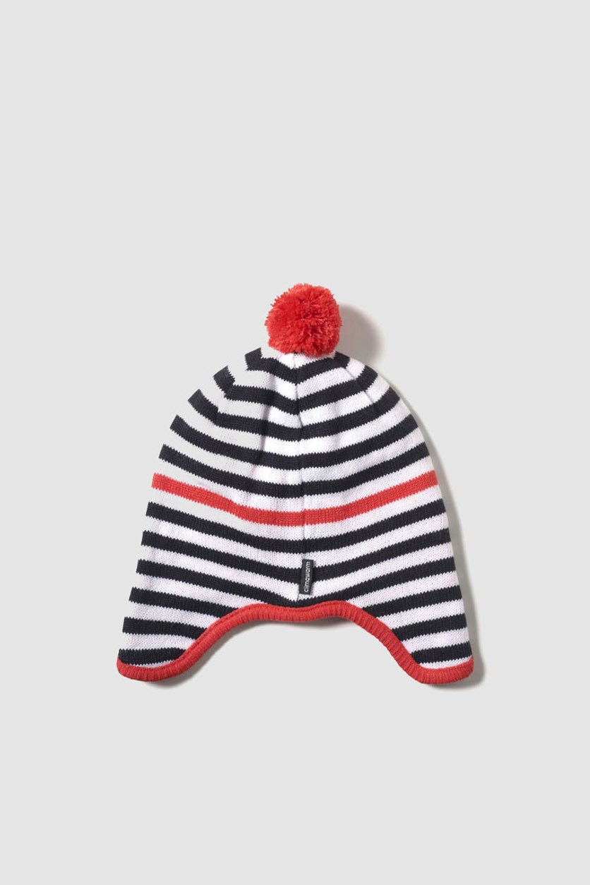 Stripy Peruvian Hat, White/Black/Red
