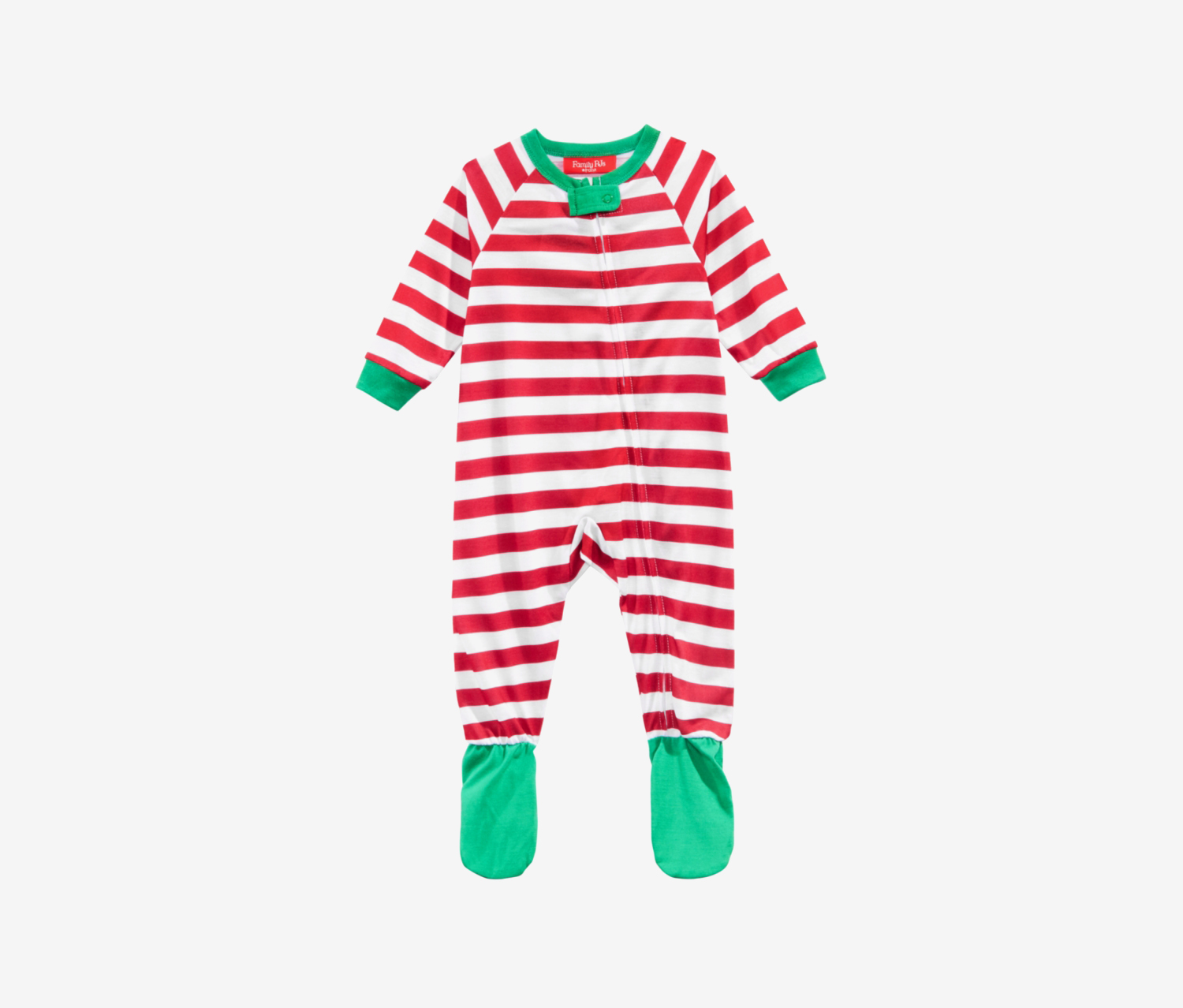 Infant Holiday Stripe Footed Pajamas, Red/White/Green