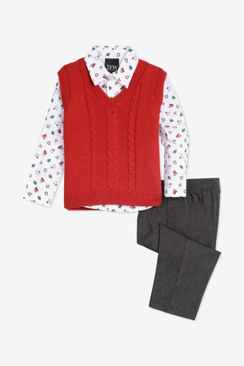 Baby Boys 3-Pc. Cable-Knit Sweater Vest, White/Red/Gray