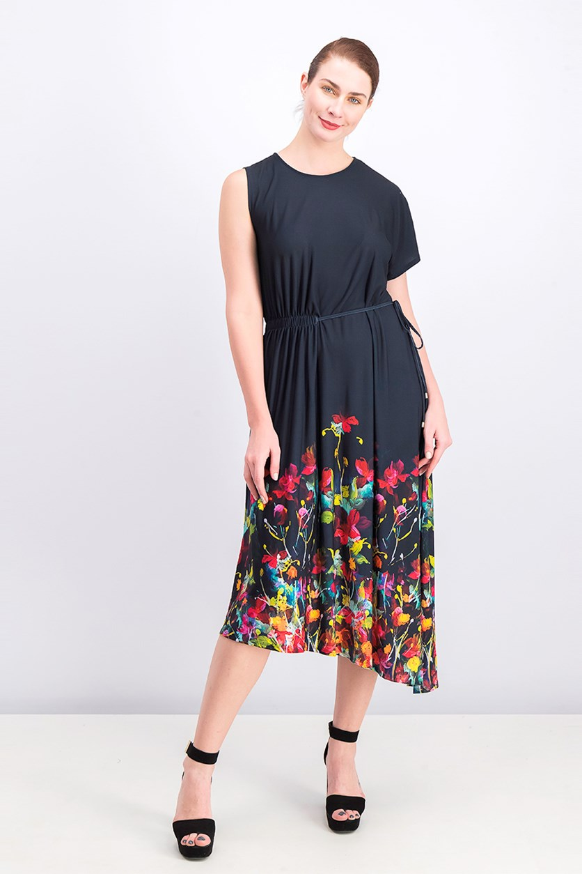 Asymmetrical Dress With Side Ruching, Navy Combo