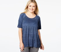 Eyeshadow Plus Size Laser Cut Suedette Tee, Navy