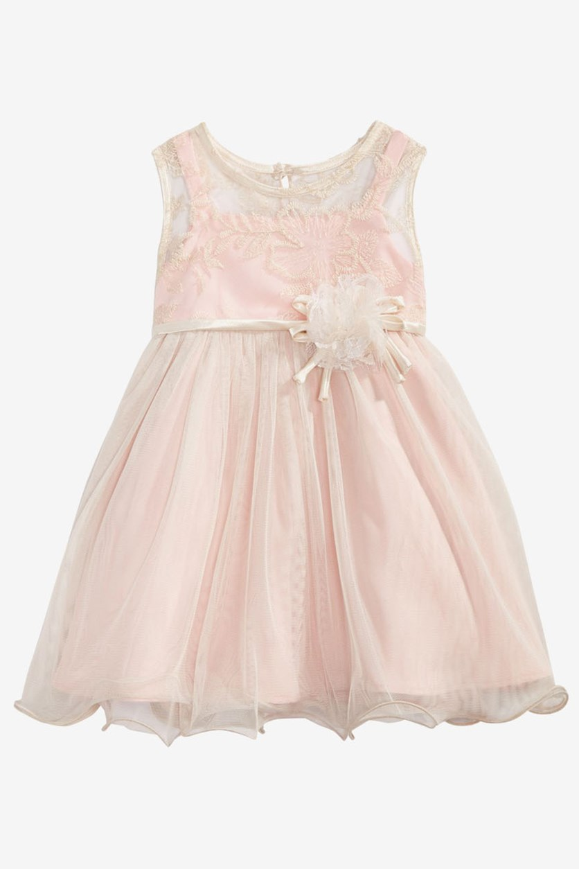 Baby Girls Rose Champagne Illusion Dress, Pink