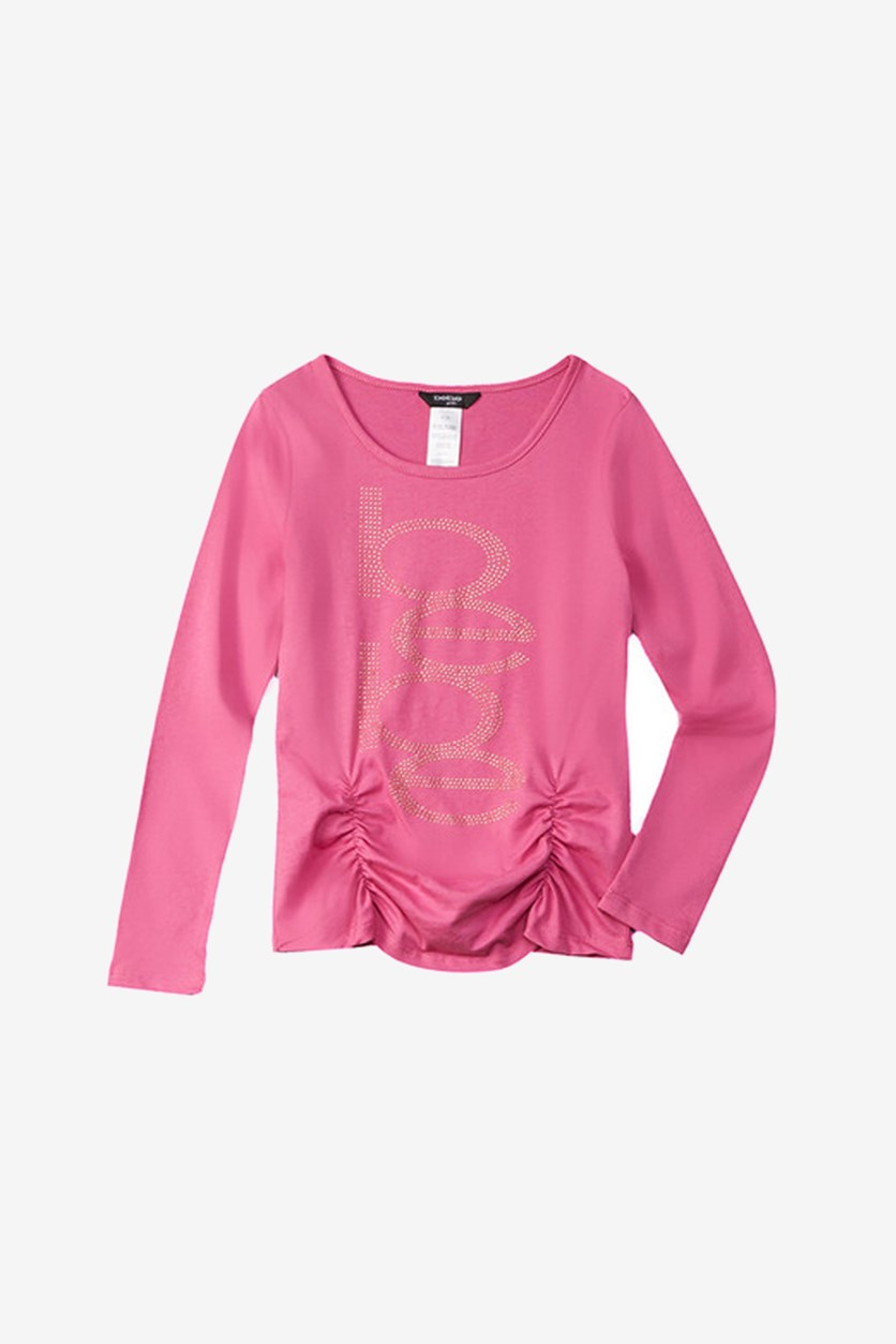 Girls Logo Ruched Top, Pink