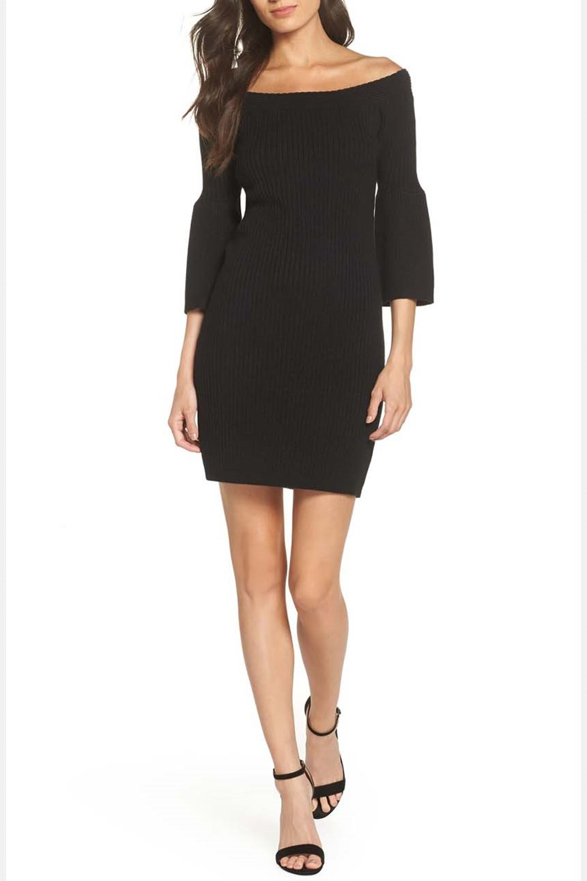 Once Dance Off The Shoulder Sweater Dress, Black
