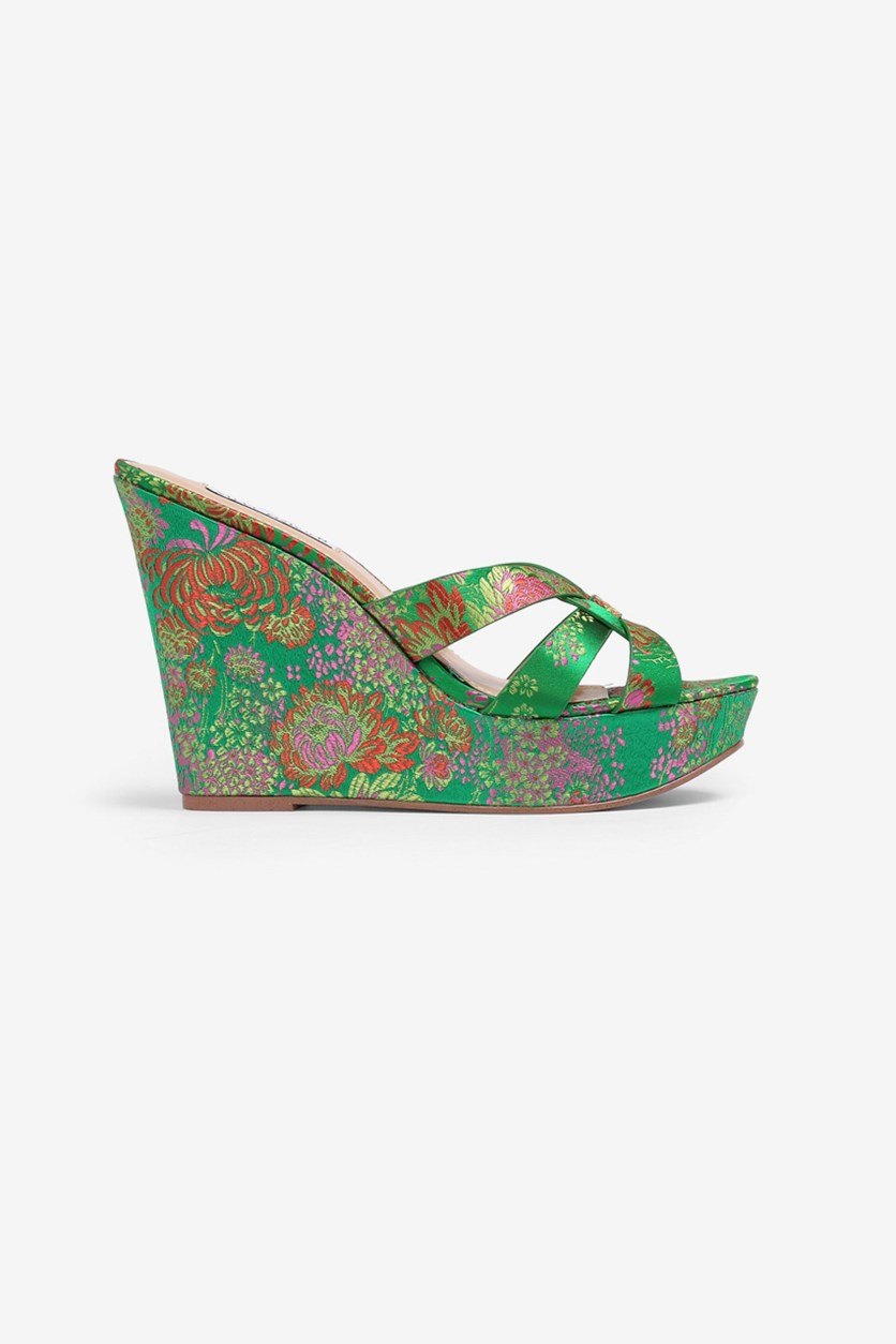 Women's Bold Wedge Sandals, Green Combo