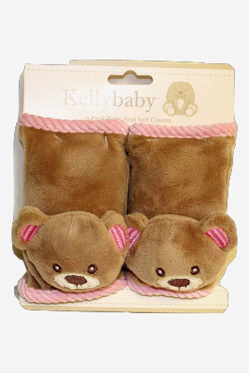 2 Pack Baby Seatbelt Cover Blue Bear, Brown/Pink