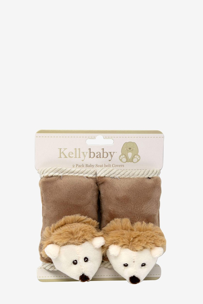 2 Pack Hedgehog Baby Seat Belt Covers, Brown/Tan