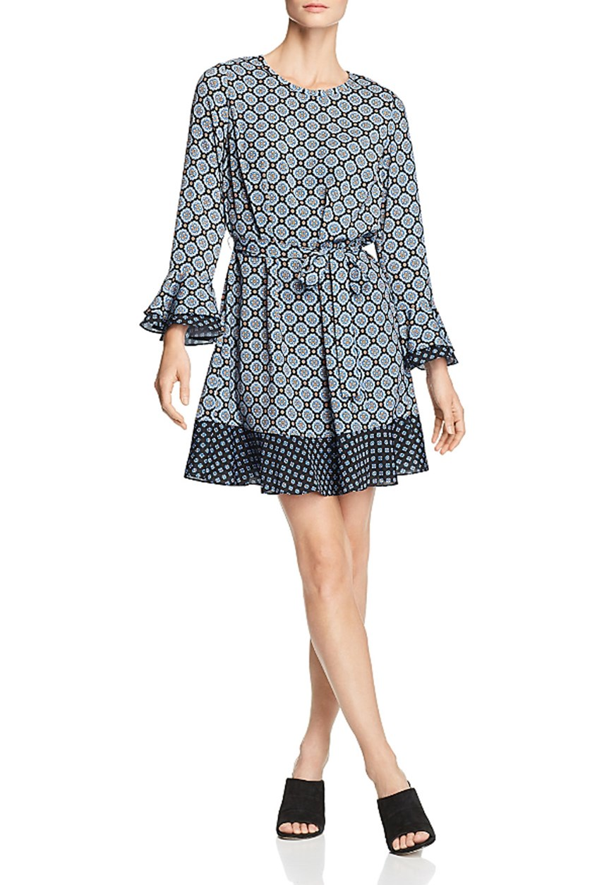 Women's Karma Bell Sleeves Printed Mini Dress, Sky Combo