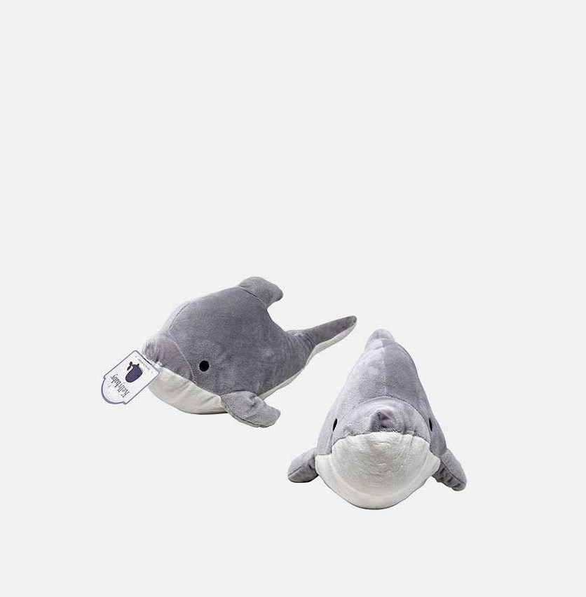 Dolphin With Rattle Soft Toys, Grey/White