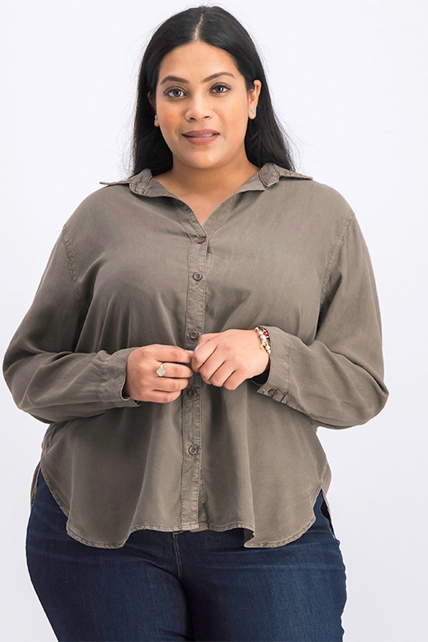Women's Plus Size Long Sleeve Shirt, Light Olive/Brown